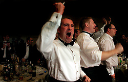 UK ENGLAND LONDON 2DEC04 - City types cheer in support of their favourite boxer during the 4th Real Fight Club City Broker Christmas Bash at the London Mariott Hotel, Mayfair. The high-adrenaline contact sport of White Collar Boxing originated in New York 17 years ago and attracts mostly young males from the financial, legal and medical professions.....jre/Photo by Jiri Rezac ....© Jiri Rezac 2004....Contact: +44 (0) 7050 110 417..Mobile:  +44 (0) 7801 337 683..Office:  +44 (0) 20 8968 9635....Email:   jiri@jirirezac.com..Web:    www.jirirezac.com....© All images Jiri Rezac 2004 - All rights reserved.