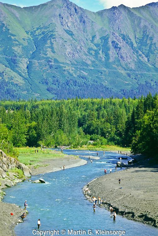 Fishing in Bird Creek along the Seward HWY south of Anchorage, Alaska.