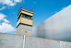 Section of original Berlin Wall watchtower at Bernauer Strasse in Berlin Germany
