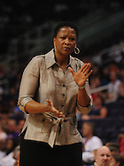 June 4, 2010; Phoenix, AZ, USA; Los Angeles Sparks head coach Jennifer Gillom rects from the sidelines during the first half in at US Airways Center.  Mandatory Credit: Jennifer Stewart-US PRESSWIRE