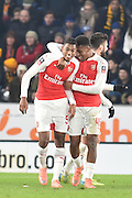 Jeff Reine-Adelaide of Arsenal FC (54) and Alex Iwobi of Arsenal FC (45) celebrate going 3-0 up during the The FA Cup fifth round match between Hull City and Arsenal at the KC Stadium, Kingston upon Hull, England on 8 March 2016. Photo by Ian Lyall.