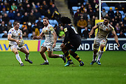 Exeter Chiefs flanker Julian Salvi  looks to pass during the Aviva Premiership match between Wasps and Exeter Chiefs at the Ricoh Arena, Coventry, England on 18 February 2018. Picture by Dennis Goodwin.