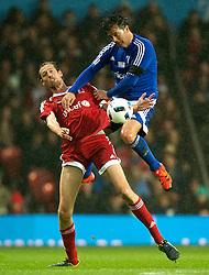 MANCHESTER, ENGLAND - Saturday, November 14, 2015: Peter Crouch of GB& I in action against Fernando Couto of Rest of the World during the Unicef  Match for Children charity match at Old Trafford between Great Britain & Ireland XI and Rest of the World XI. (Pic by Richard Martin-Roberts/Propaganda)