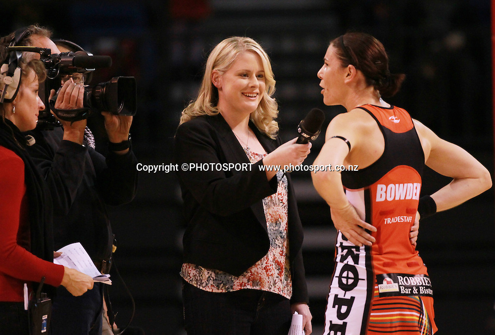 Sky commentators Rikki Swannell interviews Tactix captain Maree Bowden. Canterbury Tactix vs Waikato BOP Magic in Round 8 of the ANZ Championship at CBS Canterbury Arena, Christchurch, New Zealand. Sunday 19 May 2012. Joseph Johnson/PHOTOSPORT.