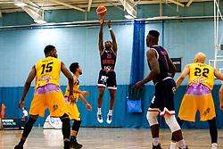 Fred Thomas of Bristol Flyers shoots - Photo mandatory by-line: Robbie Stephenson/JMP - 10/04/2019 - BASKETBALL - UEL Sports Dock - London, England - London Lions v Bristol Flyers - British Basketball League Championship