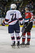 KELOWNA, CANADA - NOVEMBER 26:  Dawson Leedahl #71 of the Regina Pats and Rodney Southam #17 of the Kelowna Rockets at the Kelowna Rockets game on November 26, 2016 at Prospera Place in Kelowna, British Columbia, Canada.  (Photo By Cindy Rogers/Nyasa Photography,  *** Local Caption ***