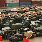 WILMINGON NC: Military vehicles and supplies are prepared to be shipped from the North Carolina State Port of Wilmington to various deployments in the Middle East. Most of this shipment is from Camp Lejeune, the largest Marine Corps Base on the East Coast of the United States, also located in North Carolina..© Logan Mock-Bunting .