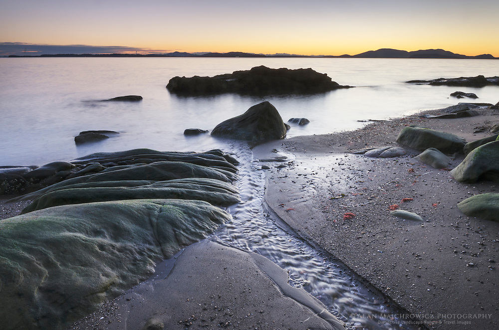 Twilight over Samish Bay and SanJuan Islands, from Clayton Beach in Larrabee State Park, Washington