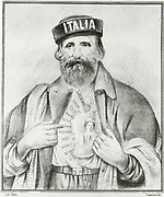 'Giuseppe Garibaldi (1807-1882) Italian patriot, politican, general, and leader in the Risorgimento and the movement for the Unification of Italy. .  Allegorical print of Garibaldi with Italy on his heart.'