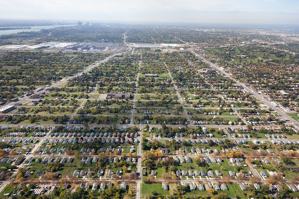 The Morningside neighborhood of Detroit looking southeast over the Chrysler plant to Downtown