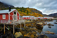 Fisherman cabins (Rorbuer) in Nusfjord village in the Lofoten Islands of Norway