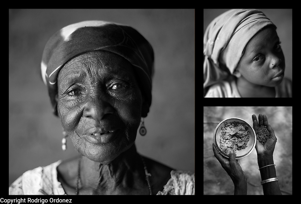 Clockwise from left: Delou Ibrahim, 70. Her granddaughter Latifa, 8. Delou's hands hold sorrel leaves, used as a condiment, and grains of sorghum at her home in Saran Maradi, Niger. (Photo: Rodrigo Ordonez/CARE)<br /> <br /> Delou Ibrahim has four children and suffered the loss of nine. She has about 40 grandchildren, 16 of which live with her. <br /> &quot;I've seen several crises. The famine in 1984 was the hardest. Rains were very weak. The stems of millet came out but the spikes gave no grain - nothing,&quot; she recalls. &quot;Two years ago at least there were people who harvested millet, but this year the crops have been worse because of the drought and the leaf miners.&quot; Delou's last crop was 30kg, which only provided food for about two days.<br /> Delou and her family receive cash from CARE. &quot;I get to buy cereal to feed my family, particularly my grandchildren.&quot; They have two daily meals, porridge in the morning and sorghum paste in the evening.