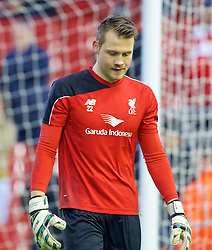 LIVERPOOL, ENGLAND - Sunday, December 13, 2015: Liverpool's goalkeeper Simon Mignolet warms-up before the Premier League match against West Bromwich Albion at Anfield. (Pic by James Maloney/Propaganda)