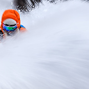 Powder skiing motion blur with Lynsey Dyer in the Teton backcountry.