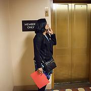 "Representative Pramila Jayapal (D-WA, 7), waits for the elevator to the United States Capitol to support the introduction of H.R 724 by Rep. Zoe Lofgren (D-CA) to ""revoke President Trump's January 27, 2017 executive order...[and] block funding for any enforcement of the order,"" on Tuesday, January 31, 2017.  John Boal photo/for The Stranger"