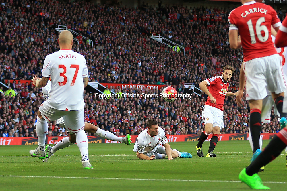 12th September 2015 - Barclays Premier League - Manchester United v Liverpool - Daley Blind of Man Utd scores their 1st goal - Photo: Simon Stacpoole / Offside.