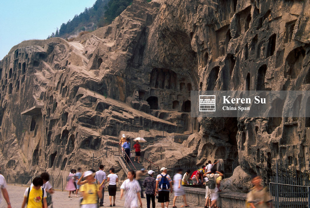 Tourists at Longmen Grottoes, Luoyang, Henan Province, China
