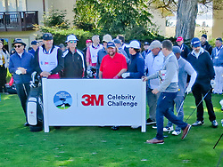 """Feb 6, 2019 Pebble Beach, Ca. USA TV, Film and singing stars that included, CLINT EASTWOOD, BILL MURRAY, COLT FORD, RAY ROMANO, LARRY THE CABLE GUY, CLAY WALKER, ANDY GARCIA, ALFONSO RIBEIRO and SIR NICK FALDO whom caggied for Eastwwod all played in the """"3M Celebrity Challenge"""" to try for part of the 100K purse to go to their favorite charity and win the Estwood-Murray cup, for which team Clint Eastwwod's group won.. The event took place during practice day of the PGA AT&T National Pro-Am golf on the Pebble Beach Golf Links. Photo by Dane Andrew c. 2019 contact: 408 744-9017  TenPressMedia@gmail.com"""