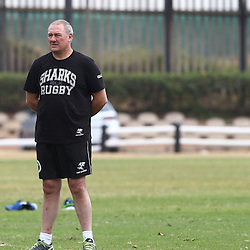 DURBAN, SOUTH AFRICA Monday 29th June 2015 - Ryan Strudwick (Assistant Coach) with Gary Gold (Sharks Director of Rugby)  and Sean Everitt (Assistant Coach)   during the Cell C Sharks Conditioning training session at Growthpoint Kings Par in Durban, South Africa. (Photo by Steve Haag)