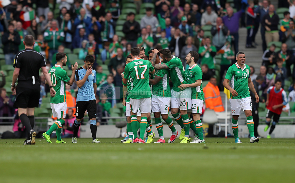 Republic of Ireland's Cyrus Christie celebrates scoring his side's second goal of the game