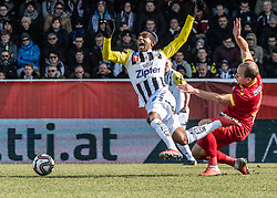 16.02.2019, TGW Arena, Pasching, AUT, OeFB Uniqa Cup, LASK vs SKN St. Pölten, Viertelfinale, im Bild v.l. Joao Victor Santos Sa (LASK), Dominik Hofbauer (SKN St.Poelten) // during the quaterfinal match of the ÖFB Uniqa Cup between LASK and SKN St. Pölten at the TGW Arena in Pasching, Austria on 2019/02/16. EXPA Pictures © 2019, PhotoCredit: EXPA/ Reinhard Eisenbauer