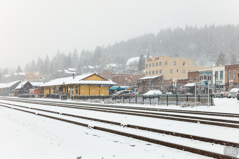 """Downtown Truckee 54"" - Photograph of historic Downtown Truckee, California shot during a snow storm."