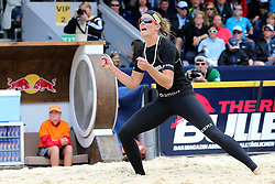 13.07.2014, Beach Village, Gstaad, SUI, FIVB Beach Volleyball Grand Slam Gstaad, im Bild Ilka Semmler (GER) jubelt // during the FIVB Beach Volleyball Grand Slam Gstaad at the Beach Village in Gstaad, Switzerland on 2014/07/13. EXPA Pictures © 2014, PhotoCredit: EXPA/ Freshfocus/ Claude Diderich<br /> <br /> *****ATTENTION - for AUT, SLO, CRO, SRB, BIH, MAZ only*****