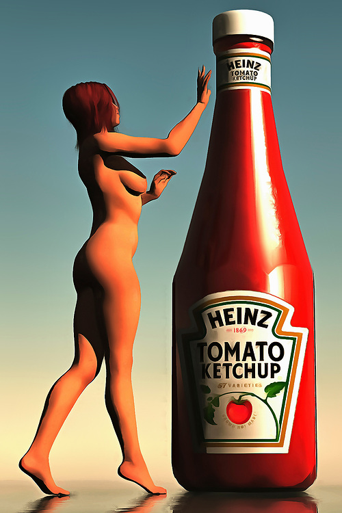 This is certainly an interesting scene! Evoking the works of those like Andy Warhol or Helmut Newton, this piece gives us a nude woman and a large bottle of a very iconic, very well-known ketchup brand. The woman is approaching the bottle carefully. She has a hand raised, although we can't begin to imagine what she's going to do next. The bottle is about the same height as the woman. This is a unique combination of a well-known brand name, with a beautiful depiction of the female form. Available as wall art, t-shirts, or as interior home décor products. .<br />