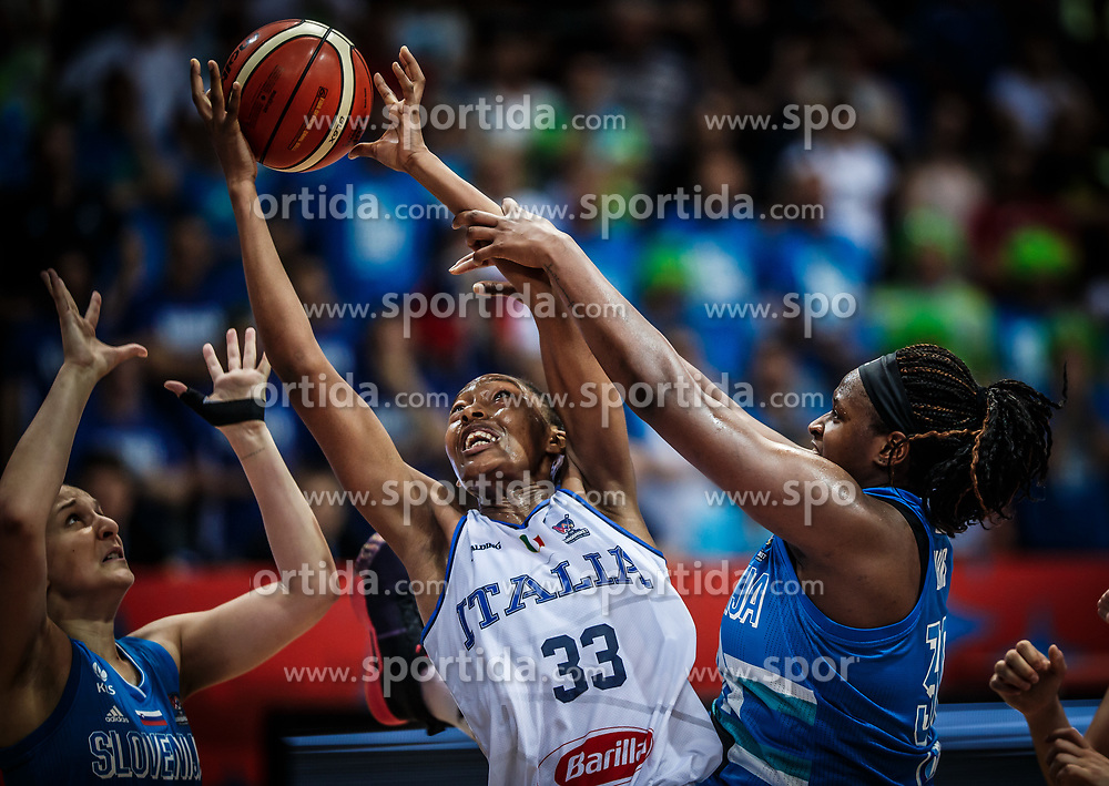Olbis Futo Andre of Italy vs Shante Evans of Slovenia during basketball match between Women National teams of Italy and Slovenia in Group phase of Women's Eurobasket 2019, on June 30, 2019 in Sports Center Cair, Nis, Serbia. Photo by Vid Ponikvar / Sportida