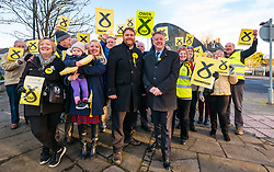 Loanhead, Midlothian, Scotland, United Kingdom, 18 November 2019. General Election campaigning:  SNP Depute Leader Keith Brown MSP joins Owen Thompson, SNP candidate for Midlothian, on the campaign trail at Fountain Green, Loanhead.<br /> <br /> Sally Anderson | EdinburghElitemedia.co.uk