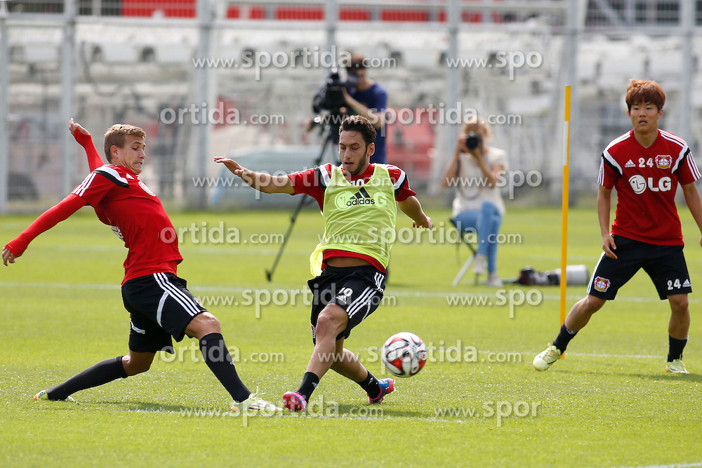07.07.2014, BayArena, Leverkusen, GER, 1. FBL, Bayer 04 Leverkusen, Training, im Bild Sommer-Neuzugang vom Hamburger SV Hakan Calhanoglu mit vollem Einsatz bei seinem ersten Training // during a Trainingssession of German Bundesliga Club Bayer 04 Leverkusen at the BayArena in Leverkusen, Germany on 2014/07/07. EXPA Pictures &copy; 2014, PhotoCredit: EXPA/ Eibner-Pressefoto/ Schueler<br /> <br /> *****ATTENTION - OUT of GER*****