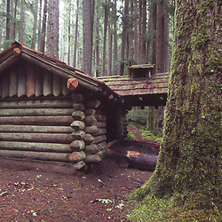 Log Cabin near Sol Duc Falls, Olympic National Park, Washington, US