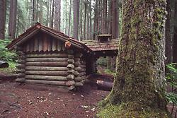 Log Cabin near Sol Duc Falls, Olympic National Park, Washington, US