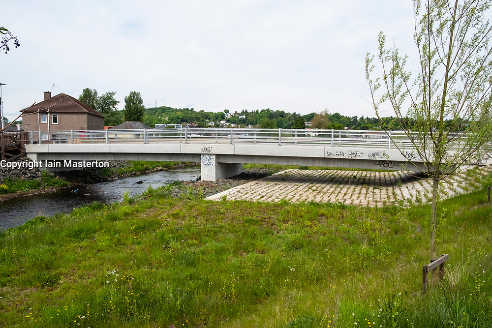 New flood prevention scheme beside Water of Leith at Murrayfield in Edinburgh, Scotland, United Kingdom, UK