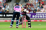 Tom Abell of Somerset reverse sweeps for six runs during the Vitality T20 Blast South Group match between Somerset County Cricket Club and Middlesex County Cricket Club at the Cooper Associates County Ground, Taunton, United Kingdom on 30 August 2019.