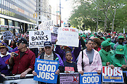 29 April 2010 New York, NY- Protestors at The March on Wall Street held at City Hall Park with proceeding March on Wall Street Protest on April 29, 2010 in New York City.