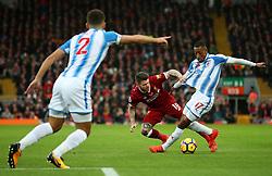 Rajiv van La Parra of Huddersfield Town takes on Alberto Moreno of Liverpool - Mandatory by-line: Matt McNulty/JMP - 28/10/2017 - FOOTBALL - Anfield - Liverpool, England - Liverpool v Huddersfield Town - Premier League