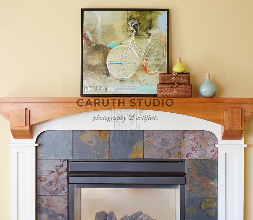 How to Style a Mantel: Vary height of objects with textural elements