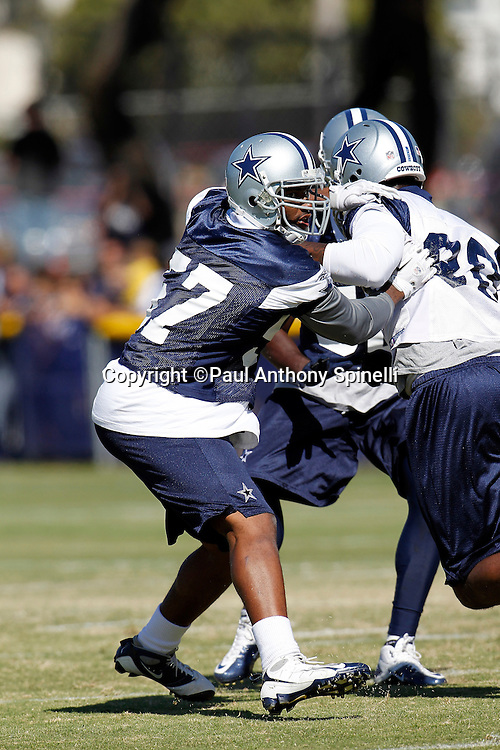 Dallas Cowboys rookie linebacker Victor Butler (57) chases the action during NFL football training camp on Wednesday, August 18, 2010 in Oxnard, California. (©Paul Anthony Spinelli)