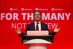 © Licensed to London News Pictures. 24/09/2017. Brighton, UK. MP for Holborn and St Pancras and Shadow Secretary of State for Exiting the European Union KEIR STARMER speaks at the 2017 Labour Party Conference in Brighton. Photo credit: Hugo Michiels/LNP