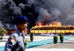June 26, 2017 - Yangon, Myanmar - Seized drugs are destroyed in Yangon, as local authorities ceremonially burned 25 kinds of seized narcotic drugs includng cocaine and amphetamine to mark the International Day against Drug Abuse and Illicit Trafficking. (Credit Image: © U Aung/Xinhua via ZUMA Wire)