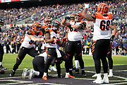 Cincinnati Bengals offensive tackle Bobby Hart (68) conducts a fake symphony while Cincinnati Bengals running back Giovani Bernard (25) plays an imaginary piano as they celebrate with teammates after Bernard runs for a first quarter touchdown that ties the score at 7-7 during the NFL week 11 regular season football game against the Baltimore Ravens on Sunday, Nov. 18, 2018 in Baltimore. The Ravens won the game 24-21. (©Paul Anthony Spinelli)