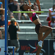 BARRETT - 13USA, Des Moines, Ia. -  Brigetta Barrett clears the high jump bar for a personal best.  Photo by David Peterson