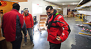 Sport Minister Bal Gosal is welcomed by the Canadian Men's Rowing teams Head coach Martin McElroy at the teams training centre at Elk Lake during Victoria City Rowing Clubs Duelling over a Grand regatta April 6th, 2013. (Kevin Light Photography)....