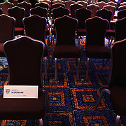 US Men's National Team Head Coach Jurgen Klinsmann's name tag left on a chair at the teams media conference at the Marriott Marquis, Times Square, New York,  USA. 30th May 2014. Photo Tim Clayton
