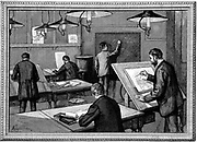 Ecole des Ponts-et-Chaussees, Paris.  Students at their studies.   Wood engraving, Paris, 1894