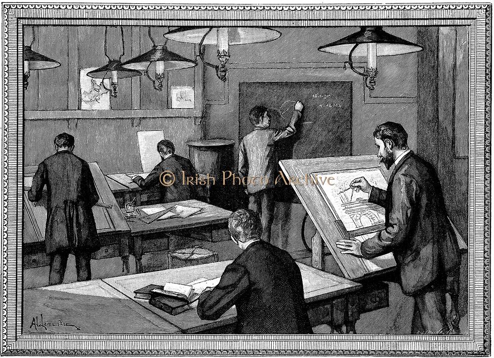 Ecole des Ponts-et-Chaussees, Paris.  Students at their studies.   Wood engraving, Paris, 1894