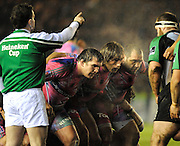Twickenham, GREAT BRITAIN,  Paris, front row, lef to right, Sylvain MARCONNET, Dimitri SZARZWSKI and Rodrigo RONCERO,  pack down for the scrum, during the Heineken Cup Rugby Pool 4. Match, Harlequins vs Stade Francais, played at Twickenham Stoop, Twickenham, Surrey, on Sat, 13.12.2008.  [Photo, Peter Spurrier/Intersport-images]