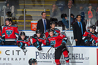 KELOWNA, CANADA - OCTOBER 28: Kelowna Rockets' head coach Jason Smith stands on the bench against the Prince George Cougars on October 28, 2017 at Prospera Place in Kelowna, British Columbia, Canada.  (Photo by Marissa Baecker/Shoot the Breeze)  *** Local Caption ***