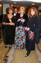 Left to right, LADY ANNABEL GOLDSMITH, ANNABEL ELLIOT sister of Camilla Parker Bowles and  LEONORA, COUNTESS OF LICHFIELD and at a dinner in aid of the BAAF (British Association for Adoption & Fostering) held at The Savoy, London on 22nd March 2005.<br />